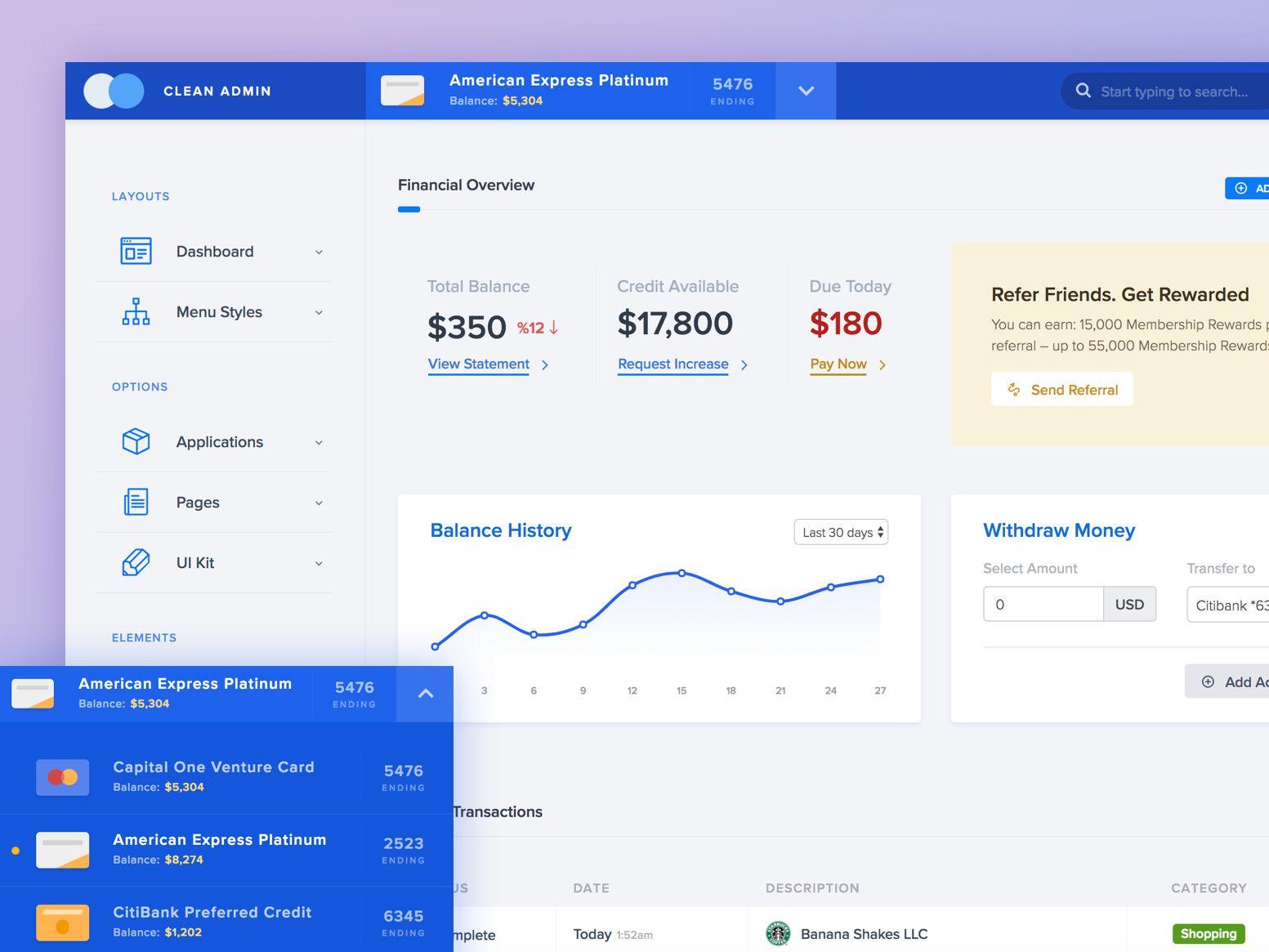 Dribbble Admin Bank Jpg By Themebully Dashboard Design App Layout Web Dashboard