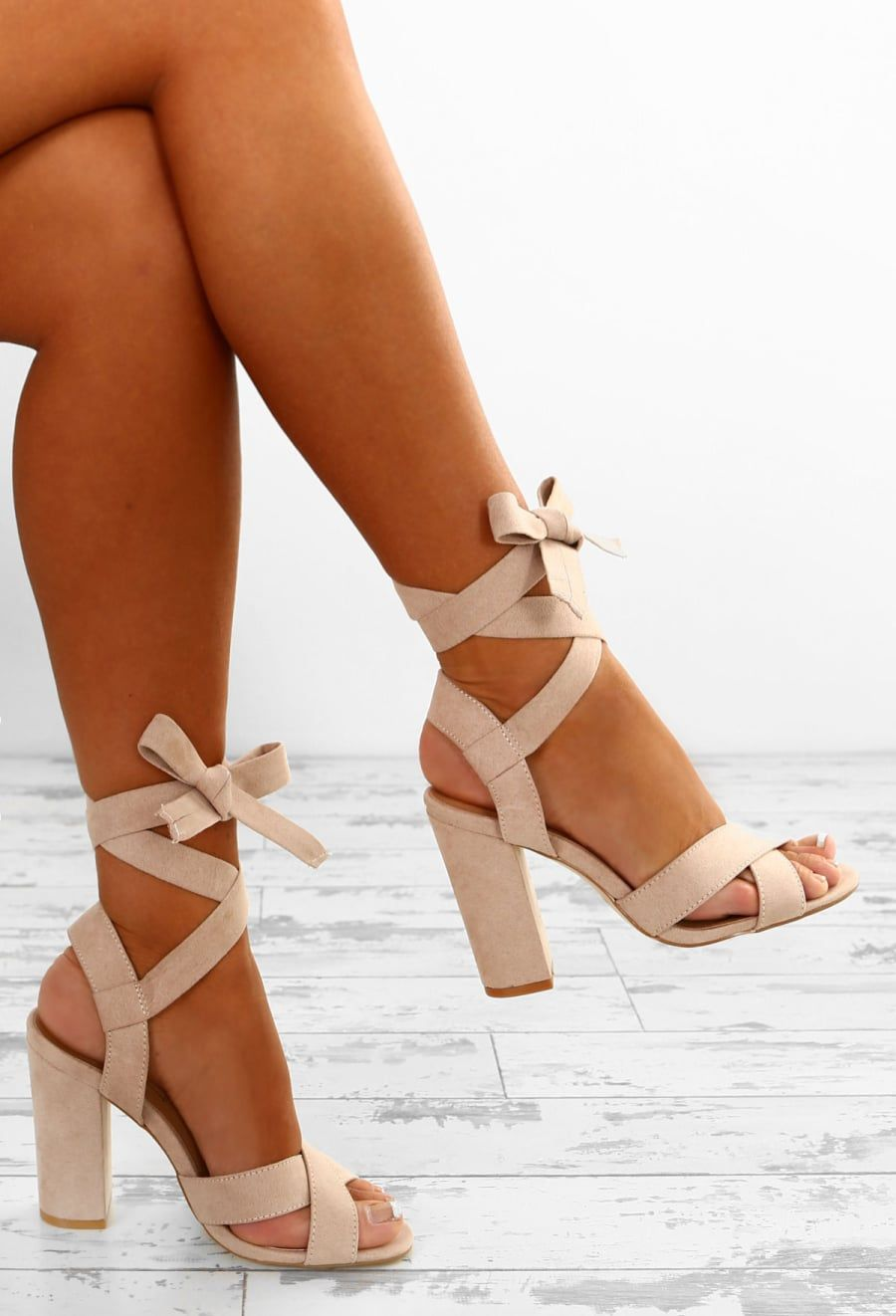 0943405fa09 Summer Chic Nude Faux Suede Ankle Wrap Block Heels - UK 3