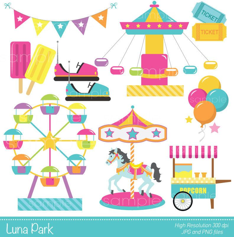 Digital Clipart Luna Park For Sbooking Paper Crafts Makingcards Invitation Commercial Use Instant Printable March 10 2017 At 03 01am