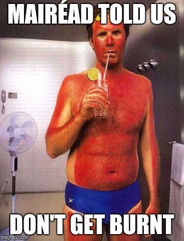 Sunburn Meme Will Ferrell Bronceado Sin Sol Bronceado