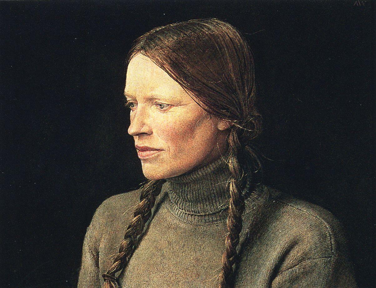 Andrew Wyeth, Braids (Helga Testorf), 1979, dry-brush watercolor