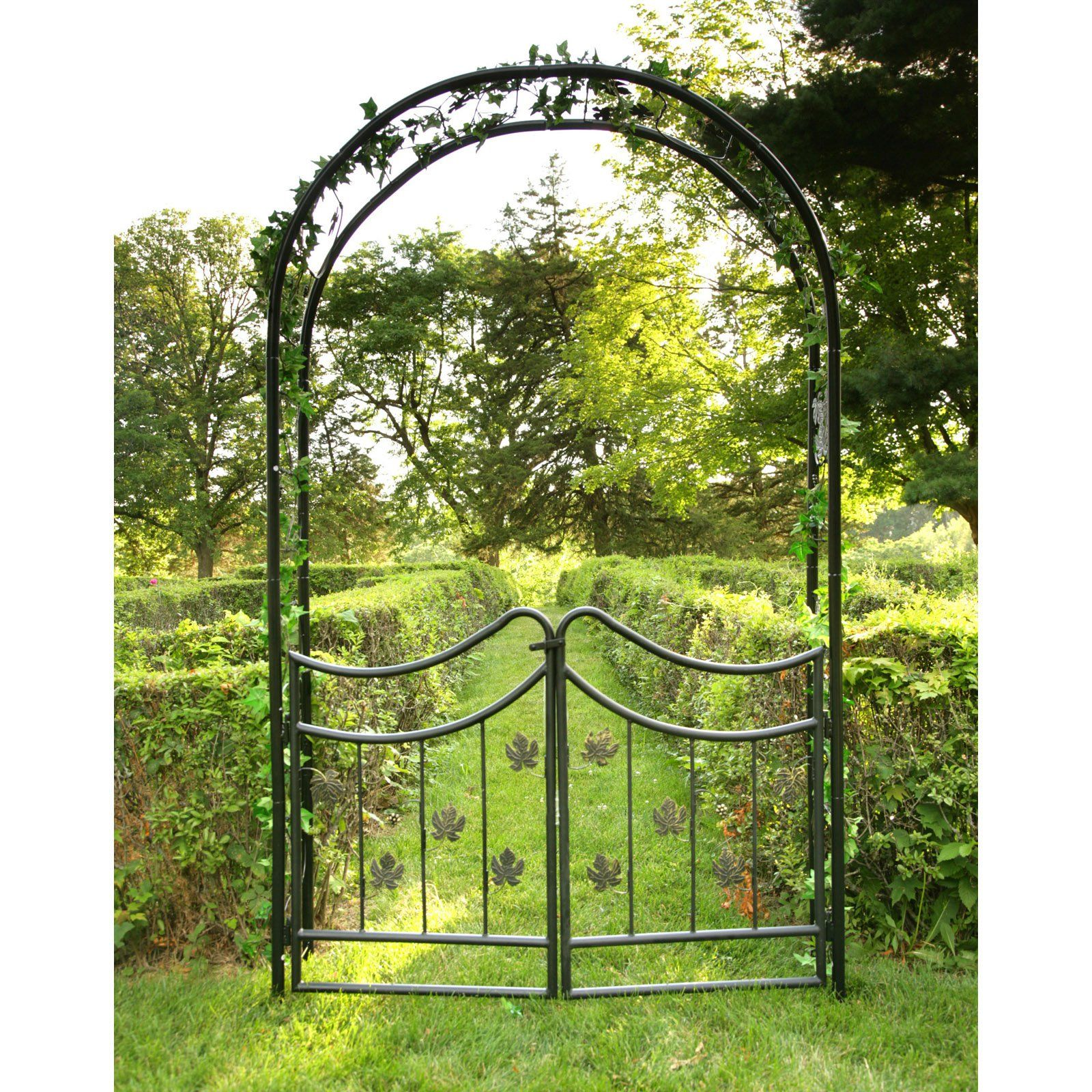 Superior Tierra Derco Bacchus Iron Arch Arbor With Gate   The Tierra Derco Bacchus  Iron Arch Arbor With Gate Features A Black Polyester Powder Coating For A  Lasting ...