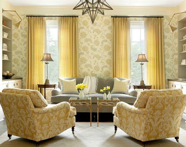 Wohnzimmer Farbgestaltung U2013 Grau Und Gelb   Wohnzimmer Warm Ambiente  Polstersessel Farbgestaltung Muster Wand Sessel