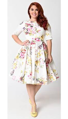 593249bdc93 Plus Size Vintage Style Ivory Seville Floral Half Sleeve Hepburn Swing Dress