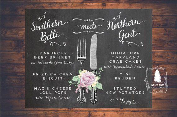 PRINTABLE Wedding Menu Wedding Dinner Menu by WhitePineWeddings