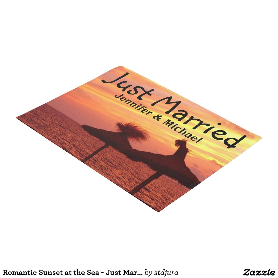 Romantic sunset at the sea just married doormat romantic the o