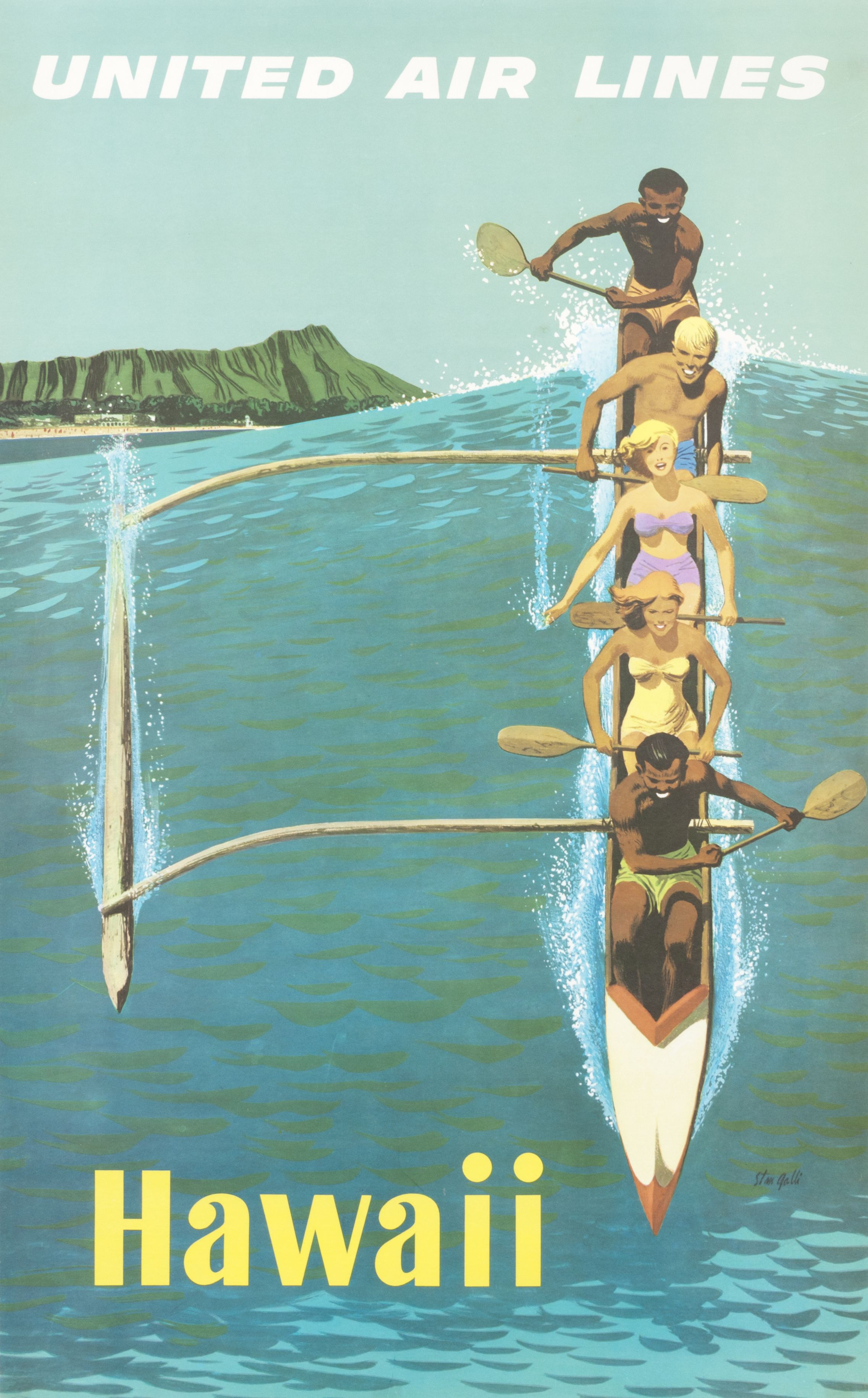 Hawaii - United Air Lines by Stan Galli, 1960 ca. | Summertime ...