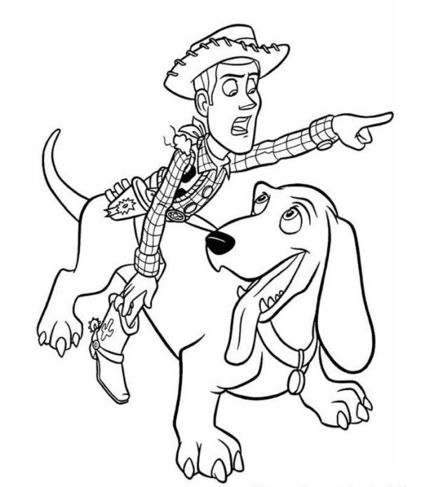 Woody Riding Dog Toy Story 2 Coloring Page Coloring 4 Kids