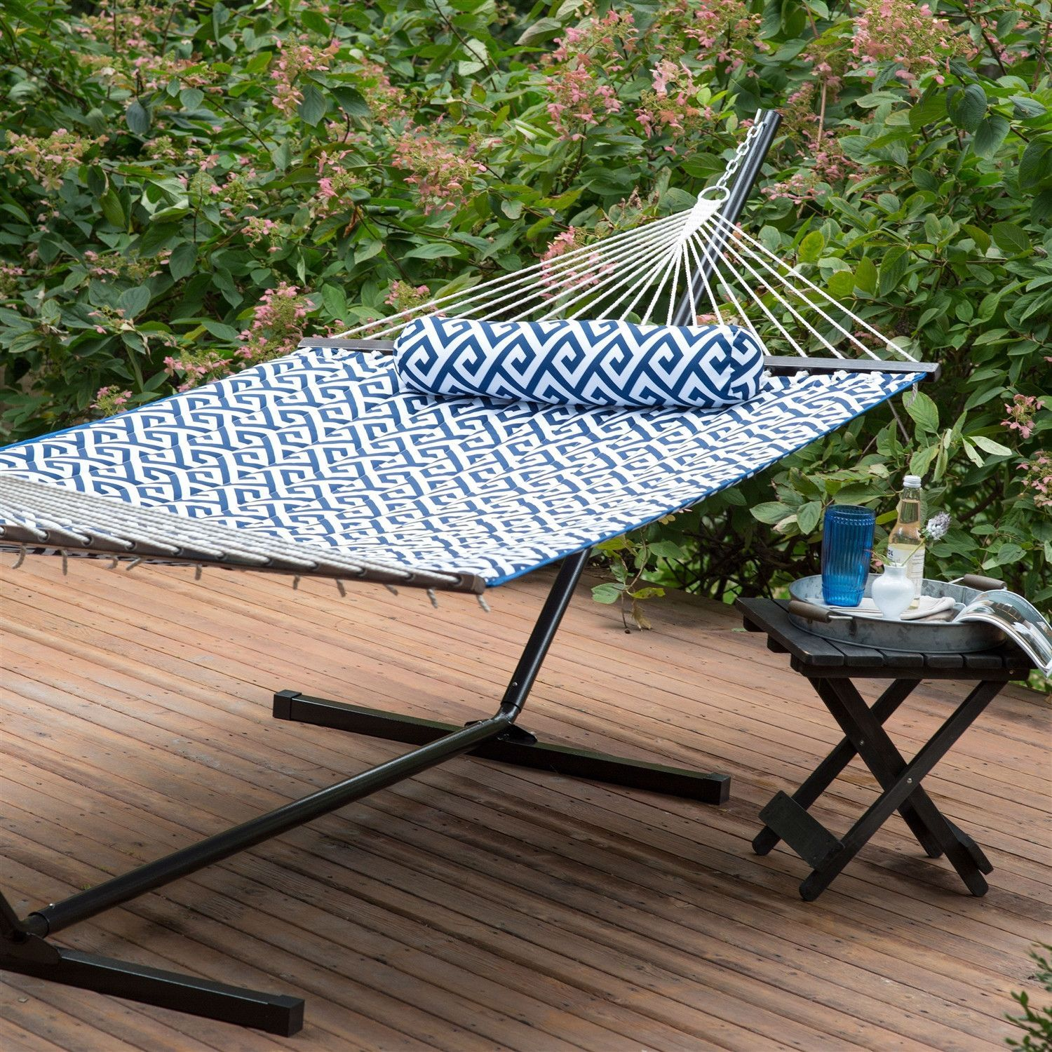 Blue White Meander Quilted 11 Ft Hammock With Sturdy Metal Stand Backyard Hammock Hammock Summer Relaxation