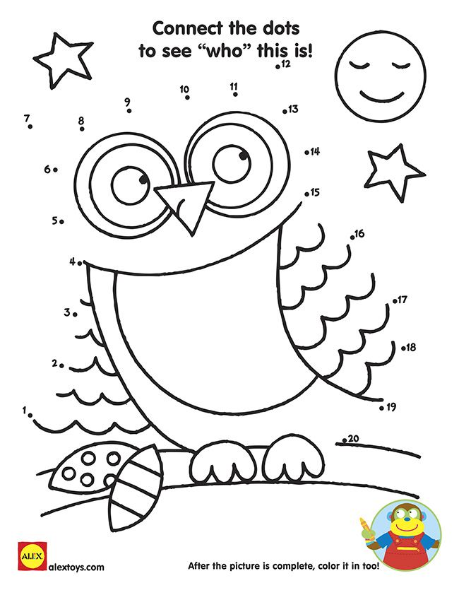 Connect The Dots Owl Printable Alex Toys Owl Printables Connect The Dots Owl
