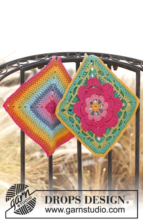 "Set consists of: Crochet DROPS pot holder with flower in ""Paris"" and Pot holder with stripes in ""Paris""."