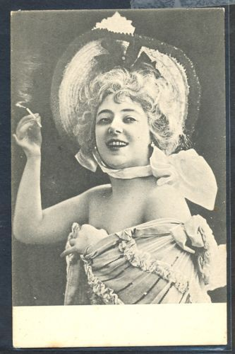 PF036-ARTIST-STAGE-STAR-BEAUTIFUL-LADY-Large-HAT-CIGARETTE-PHOTO-pc