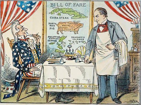 Mperialism A Cartoon Of Uncle Sam Seated In Restaurant Looking At