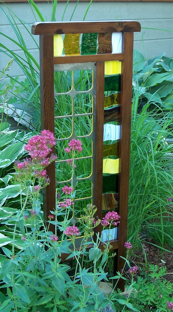 Unique And Colorful Garden Screen, Cedar And Steel Trellis With Stained  Glass, One Of A Kind Garden Decor