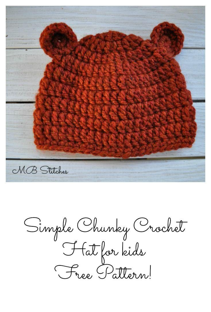 Simple Chunky Bear Hat | Ganchillo patrones, Ganchillo y Patrones