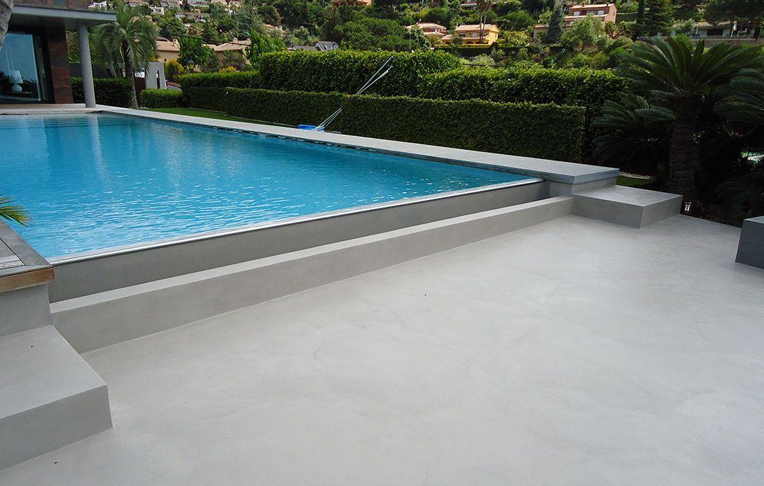 Gris perla para piscina de microcemento coronaci n suelo for Construccion de piscinas de concreto