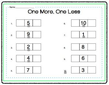 Math One More One Less Activity Kindergarten Math Kindergarten Math Activities Kindergarten Math Worksheets