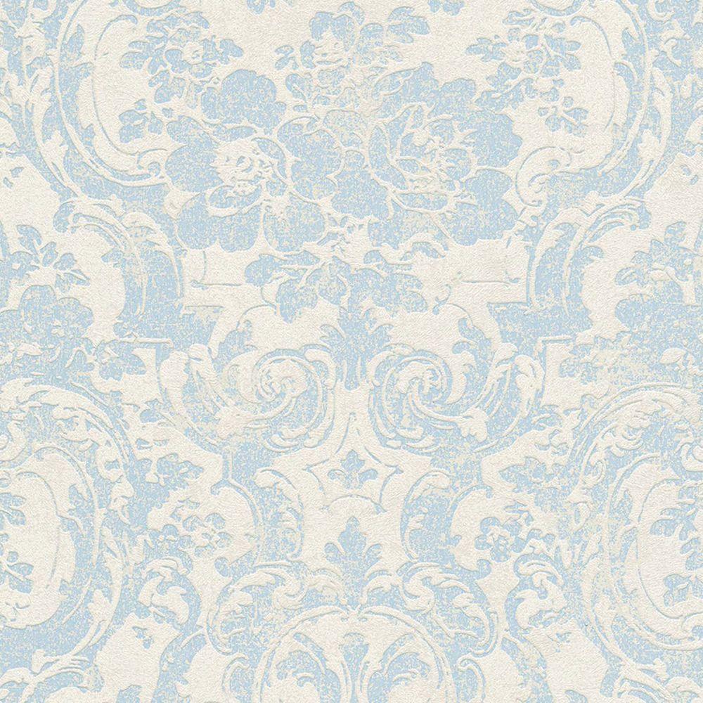 Barock Vliestapete Moments Grau Blau Tapete Blumen Ornamente Blaue