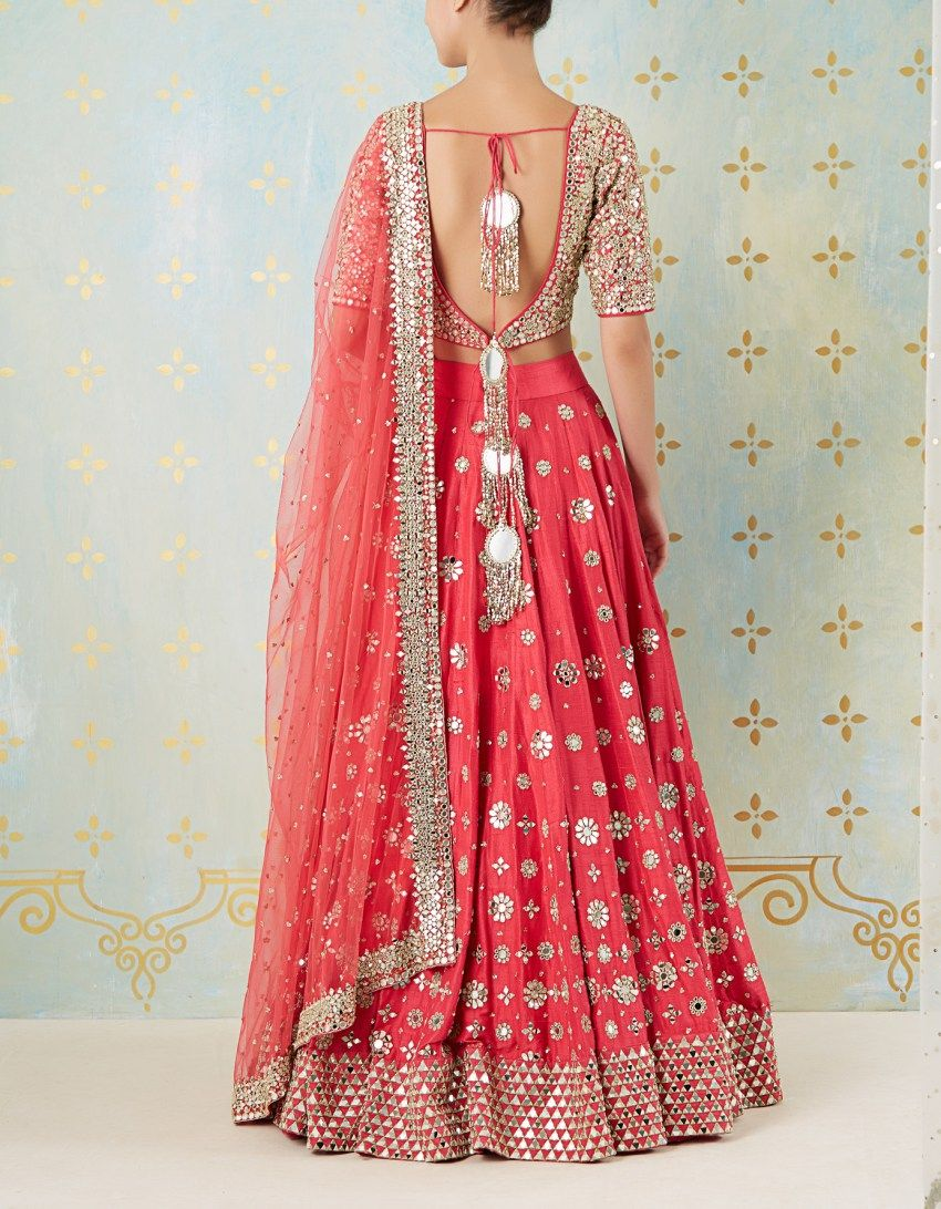 8de152c74c Pink gota Patti mirror work lehenga by Abhinav Mishra. Comes with big  mirror work lateens. Click on image to see price. #Frugal2Fab