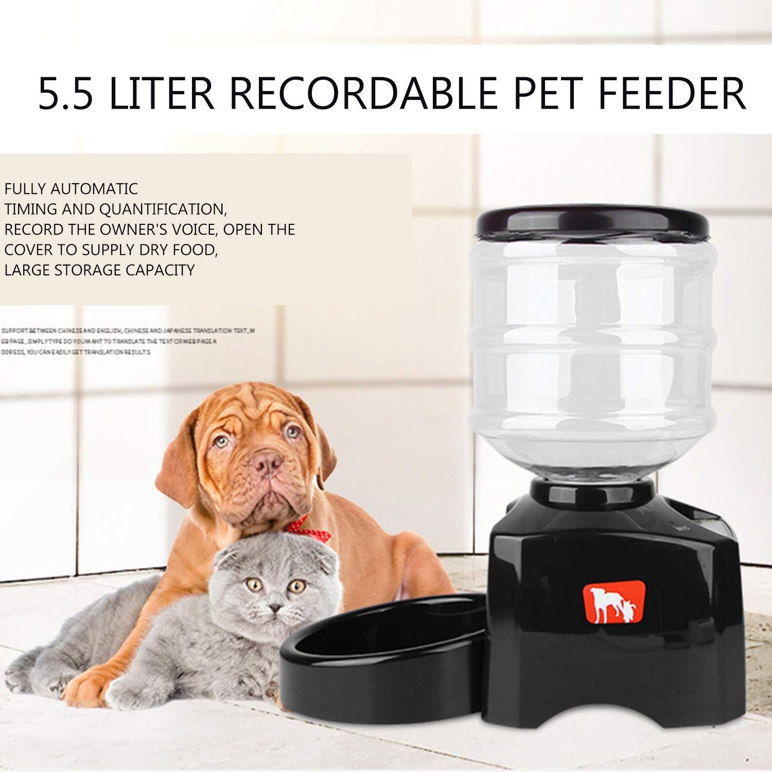 Fairytalemm 5 5l Smart Feeder Automatic Food Dispenser Pet Feeder With Lcd Display Sound Recording Timer Programmable Fo Pet Feeder Dog Feeder Sound Recordings