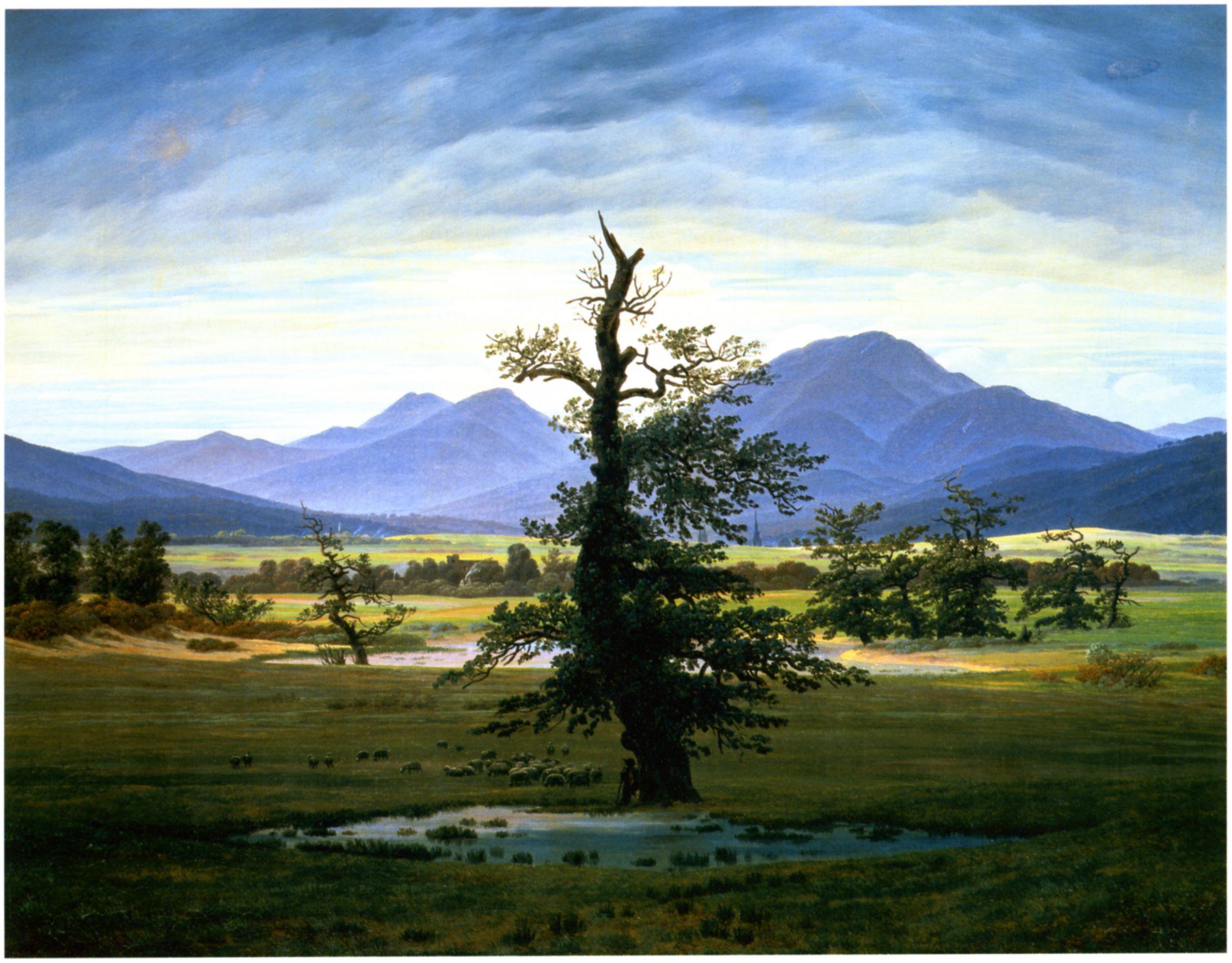 Caspar David Friedrich - Der einsame Baum (Dorflandschaft ...