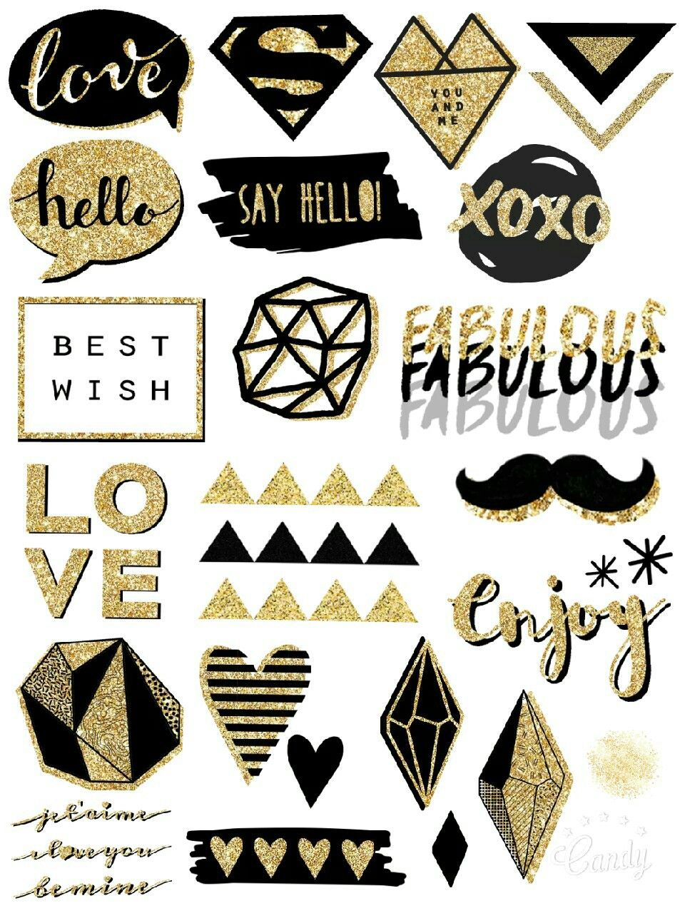 black and gold - sticker printable #sticker#printable#free#gold