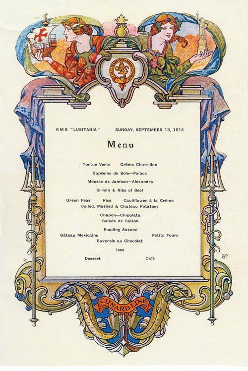 FirstClass Dinner Menu  Lusitania Dead Wake