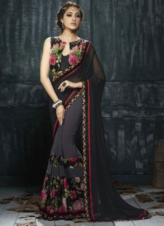 Black Grey Flower Print Silk Lace Border Blouse Georgette Half Sarees #Wedding #Bridal #designer #Saree http://www.angelnx.com/Sarees