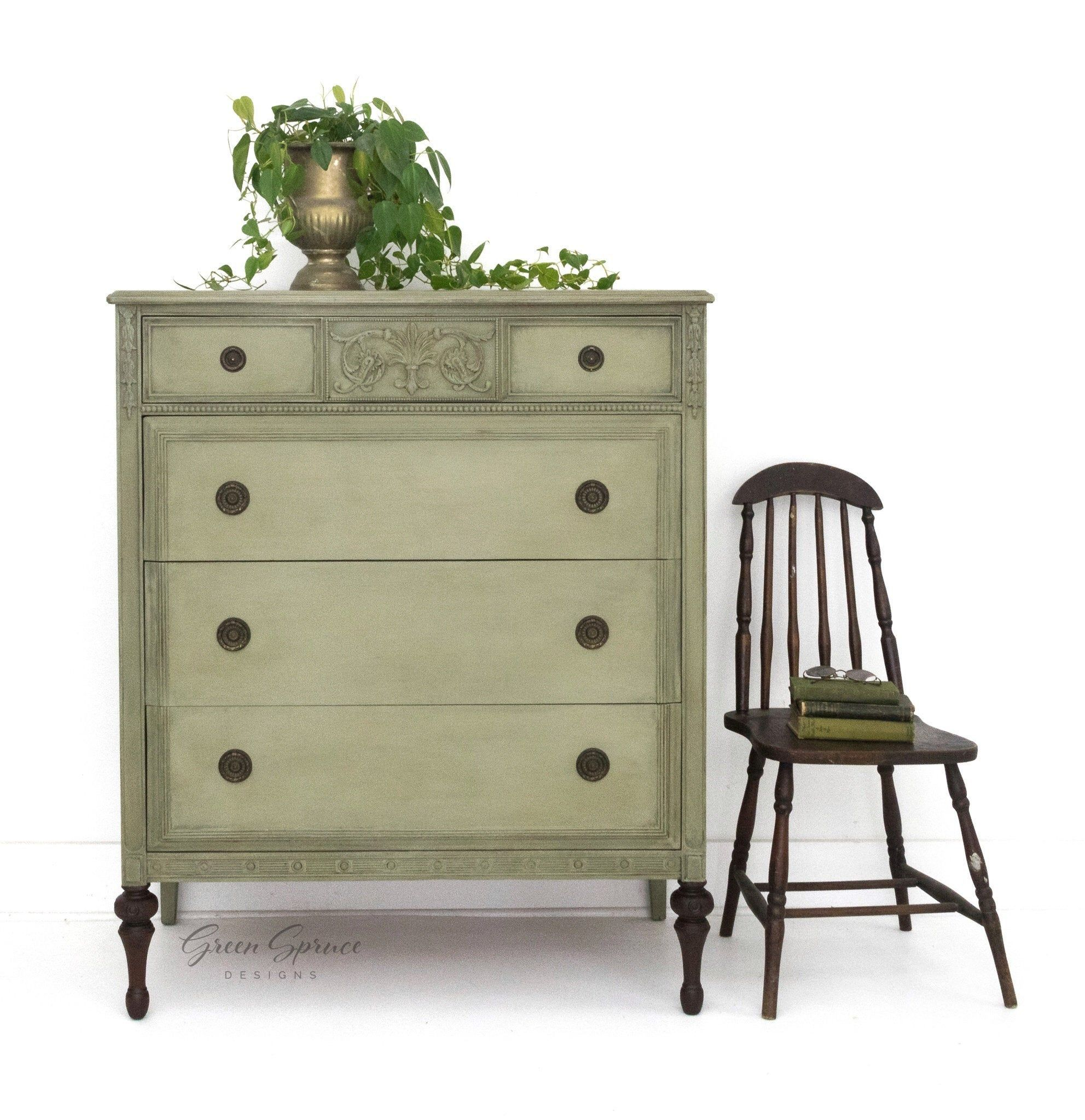 Reserved For Mursal Antique Chest Of Drawers Hand Painted Etsy Vintage Chest Of Drawers Green Dresser Green Chest Of Drawers