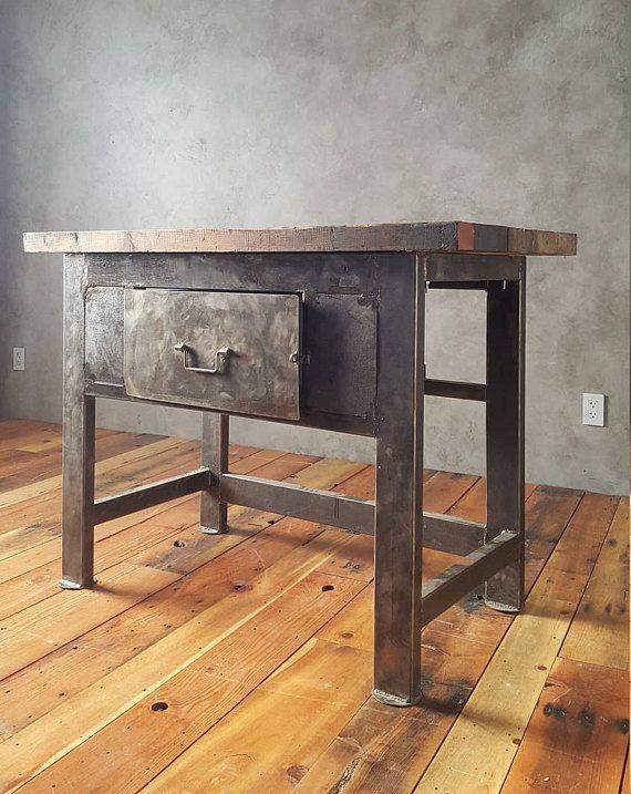vintage industrial butcher block kitchen table steel table brushed