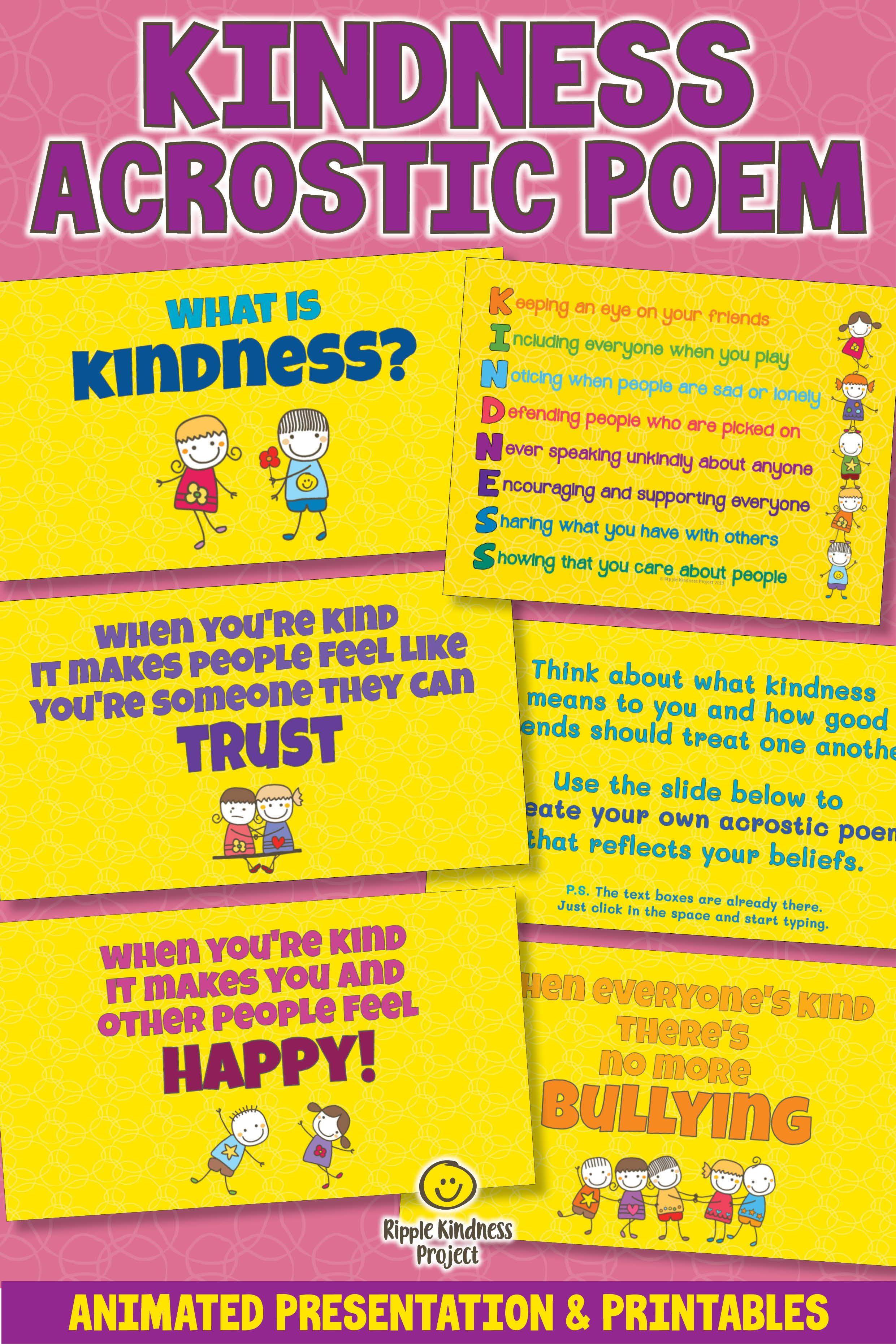 Kindness Acrostic Poem Activity