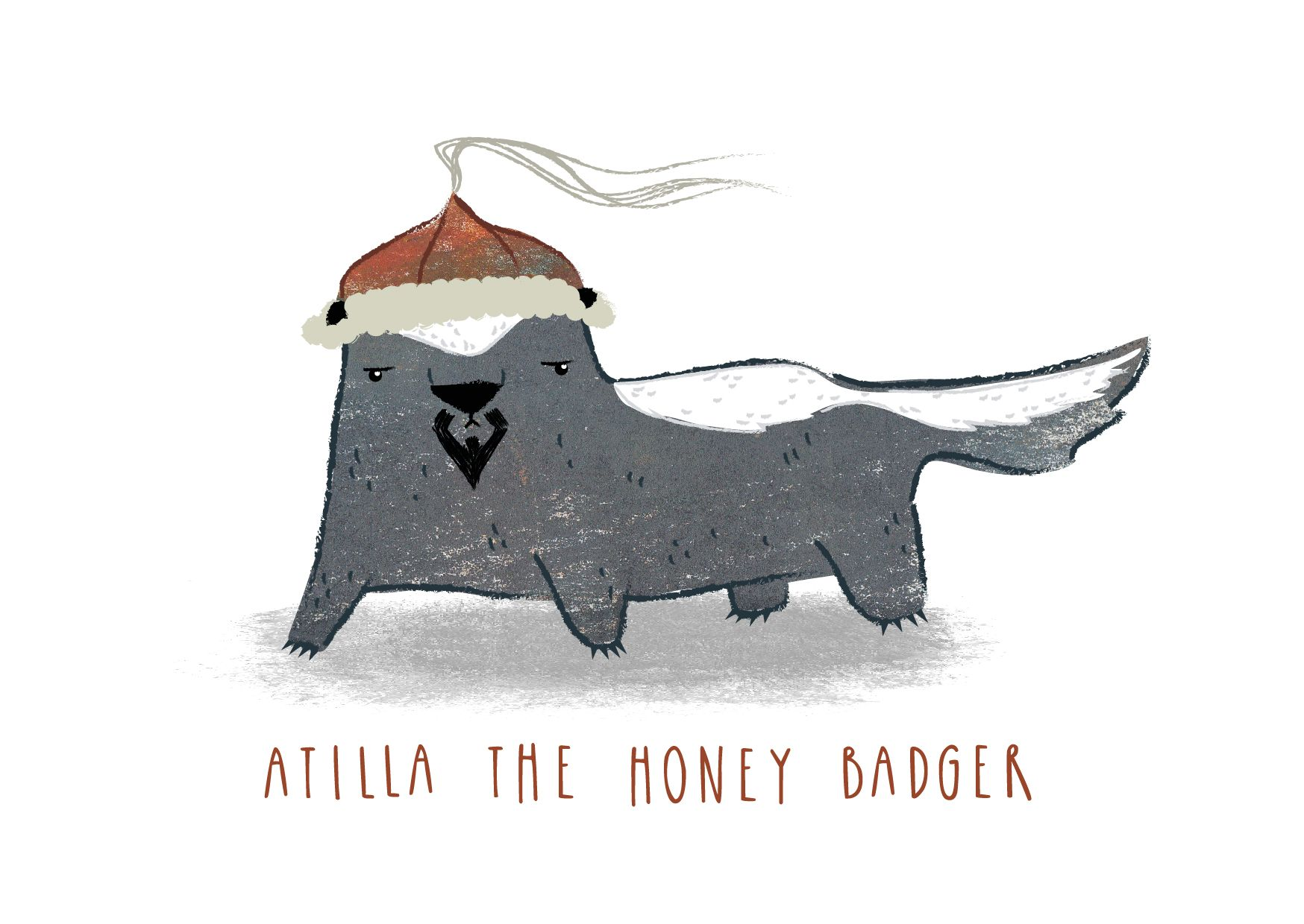 Atilla The Honeybadger A6 Greetings Card Snowtap Etsy Greeting Cards Funny Cards For Friends Funny Birthday Cards