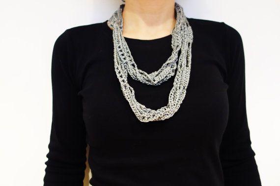 Crochet Pattern - Crochet Silk Skinny Infinity Scarf/ Handmade ...