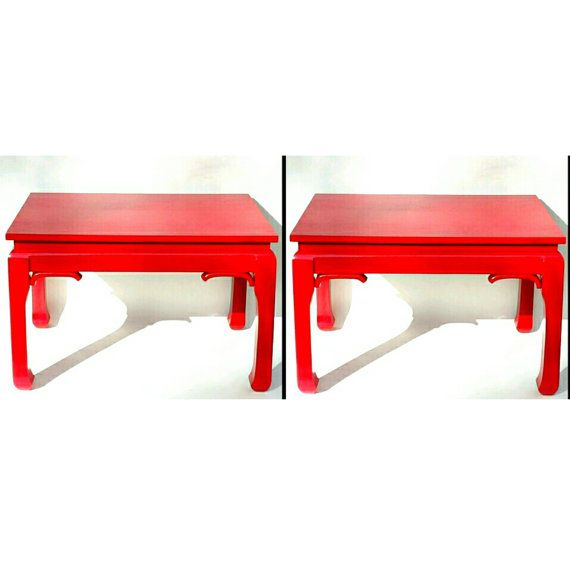 Mid Century End Tables Red Chinese Chinoiserie Asian Japanese Pair Modern Furniture Red Vintage Bedroom Nightstands Bedside Table Brutalist