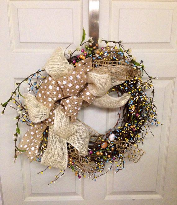 Spring Burlap Wreath, Summer Decor, Front Door Decor ...