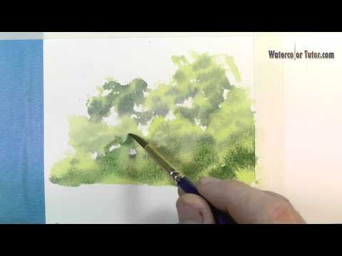 How To Paint Trees Amp Bushes In Watercolor Lessons By Dennis