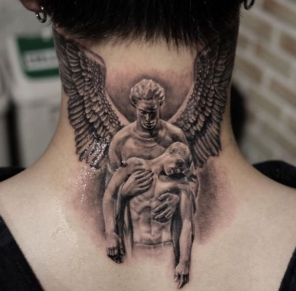 Wings Neck Tattoo Back Of Neck Tattoo Men Neck Tattoo For Guys Back Of Neck Tattoo