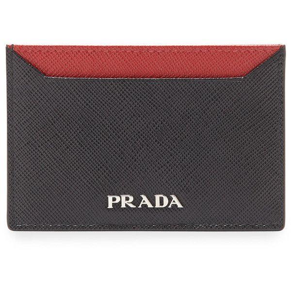 Saffiano Leather Flat Card Holder, Red/Multi. Prada card holder in