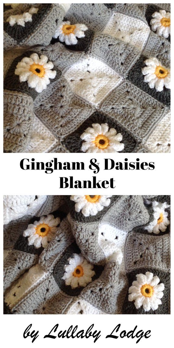 PDF PATTERN - Make this pretty Gingham & Daisies crochet granny squares baby blanket - Flower motifs - Instant digital download