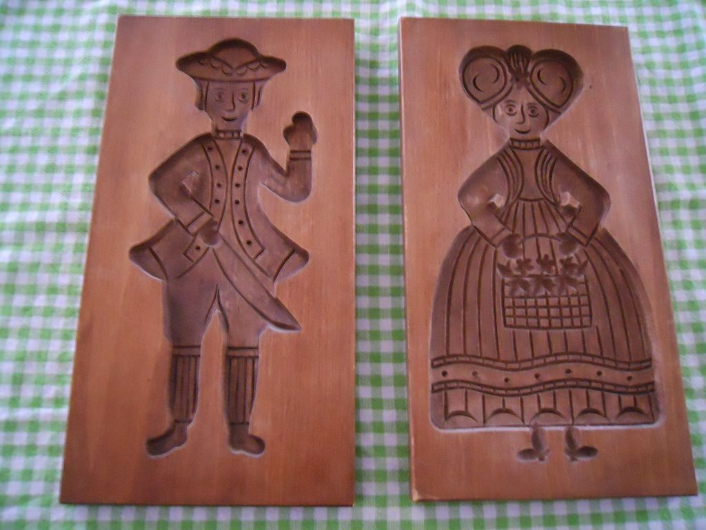 Vintage Wooden Cookie Or Butter Presses Set Of 2 Man And Woman For Sale On Ruby Lane Rubylane Vintage Baking Wood Butter Mold Wooden Butter Mold