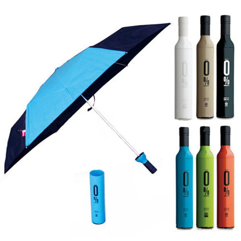84b3db638 1PC Portable Beer Bottle Red Wine Windproof Creative Umbrella Sunny Rainy  Day double use umbrella A2