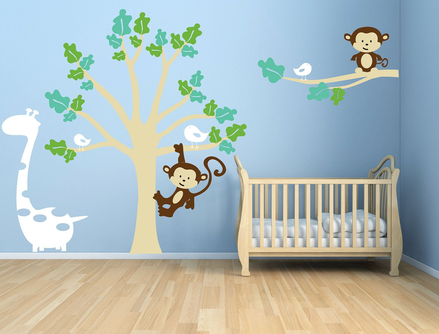 Tree Wall Decal With Monkeys Giraffe Birds Large By Janeymacwalls 125 00 Baby Room Wall Art Baby Room Paintings Baby Room Wall Decals