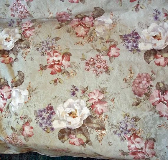 Vintage Culp Pastel Cabbage Rose Upholstery Fabric 5 Yards
