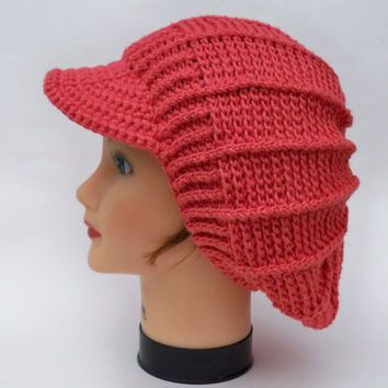 Crochet Newsboy Cap Womens Slouchy Hat With Brim Brimmed Beanie