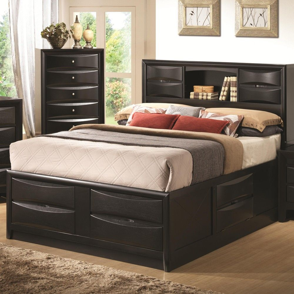 Comely Bedroom with Black Wood Storage Drawers Platform Bed and ...
