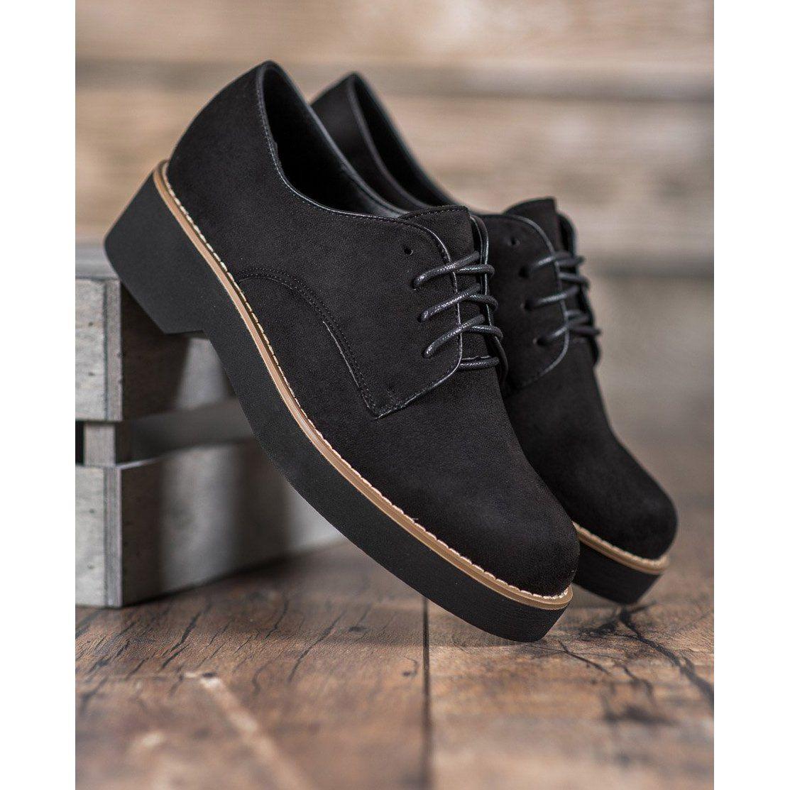 Shelovet Czarne Zamszowe Polbuty Dress Shoes Men Oxford Shoes Womens Oxfords