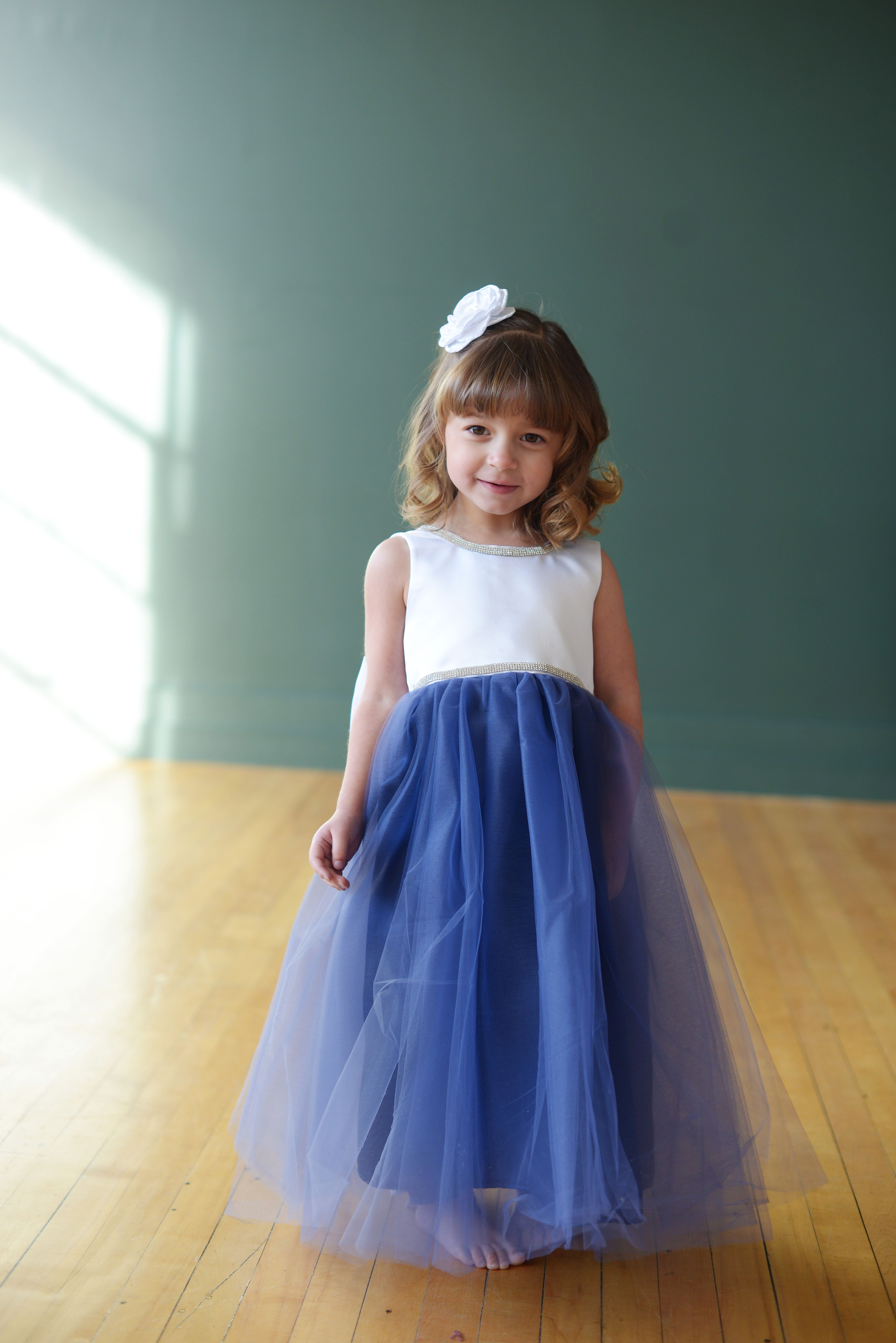 Blue And White Flower Girl Dress With A Diamante Bodice And A V