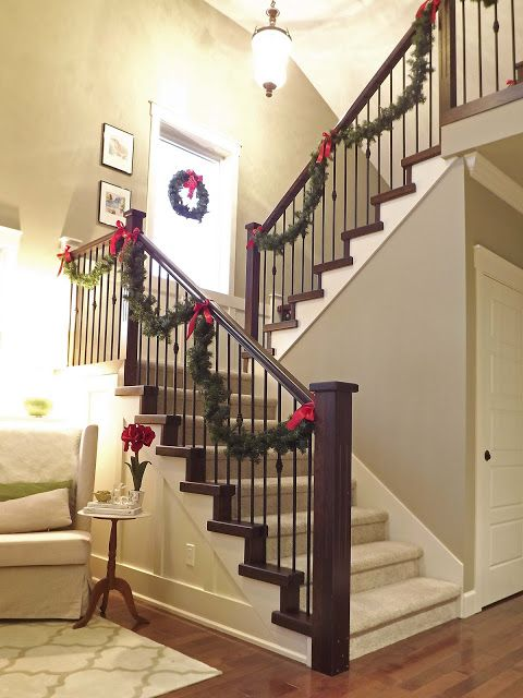 simple railing garland - Christmas Decorating Ideas For Staircase Railing