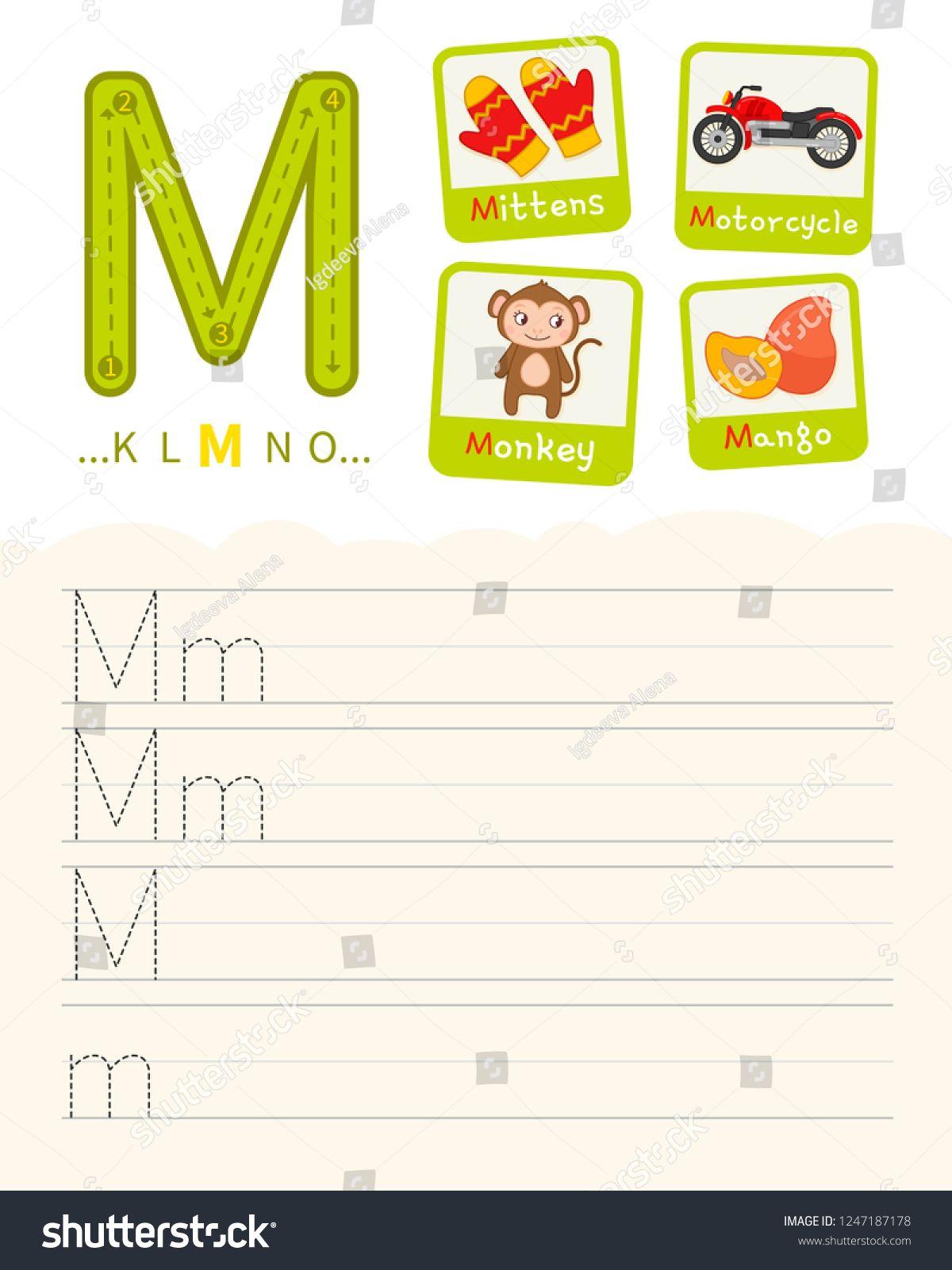 Handwriting practice sheet. Basic writing. Educational ...