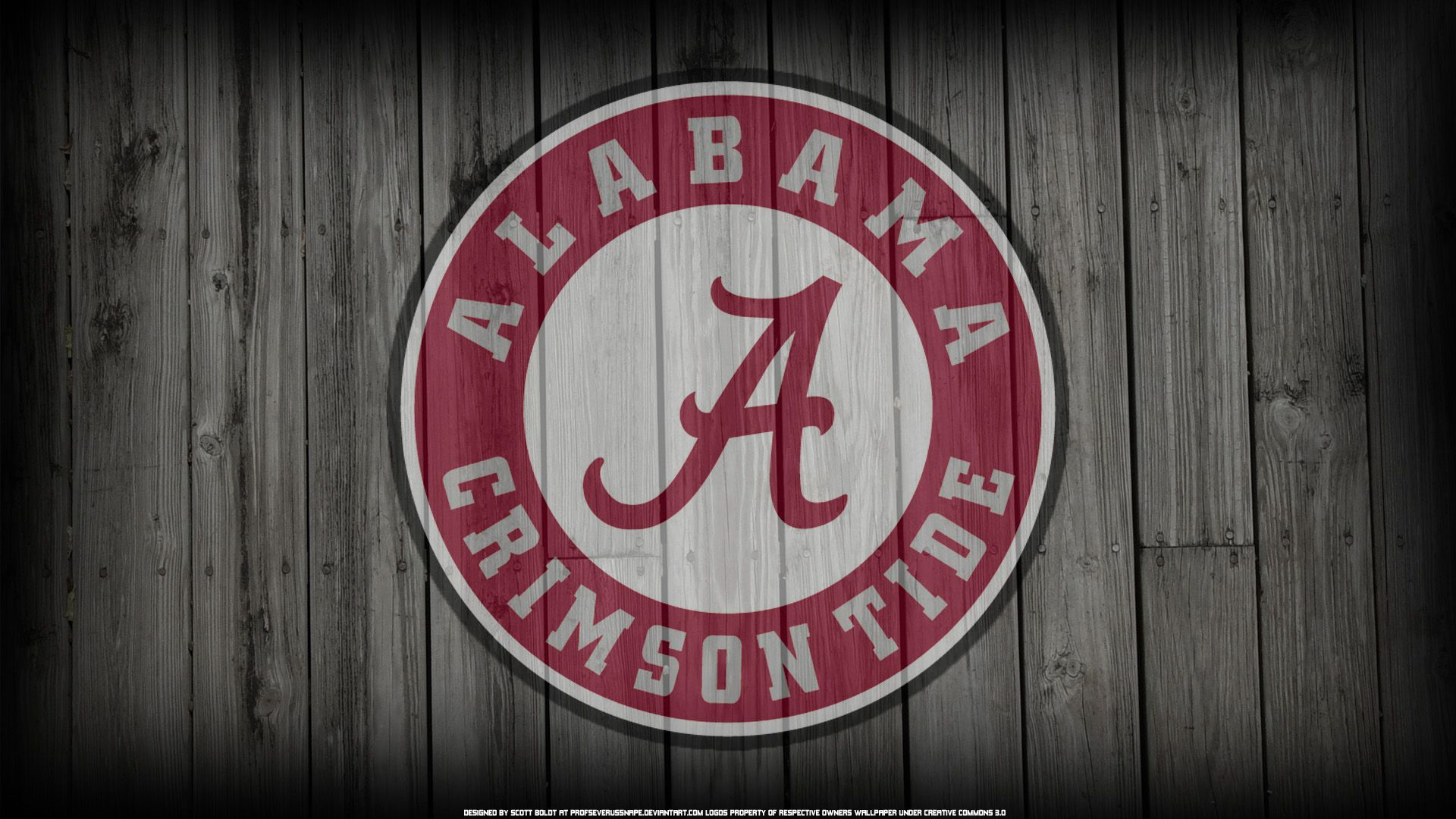 Alabama Crimson Tide Logo on Wood Background (by